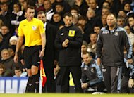 Mark Clattenburg, centre, was the fourth official in Sunday's clash between Tottenham and West Ham