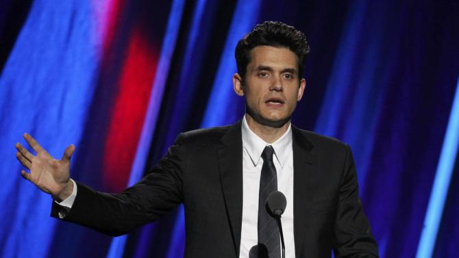 John Mayer inducts Stevie Ray Vaughn and Double Trouble during the 2015 Rock and Roll Hall of Fame Induction Ceremony in Cleveland