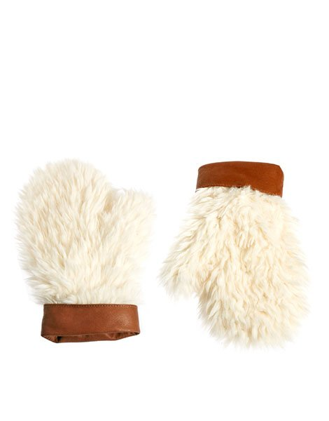 Asos faux shearling mittens with leather cuff, $26.39, asos.com