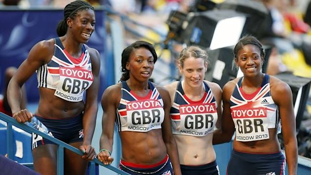 Britain's women's 4x400m team: (L-R) Christine Ohuruogu, Margaret Adeoye, Eilidh Child and Shana Cox