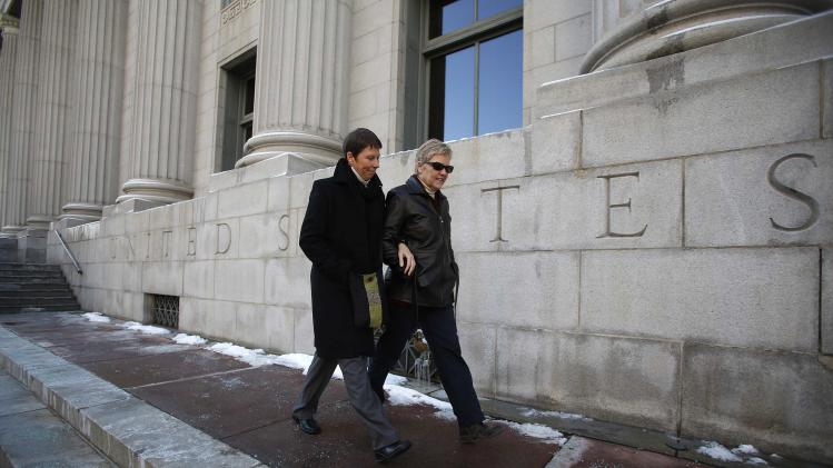 File photo of Partridge and her partner Wood walking from the Frank E. Moss federal courthouse in Salt Lake City