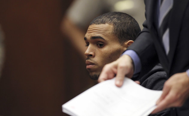 Singer Chris Brown appears in court for a probation revocation hearing at the Criminal Justice Center in downtown Los Angeles on Wednesday, Feb. 6, 2013. Prosecutors are seeking probation revocation because they say they could not find credible evidence that Brown completed his community labor sentence stemming from the 2009 beating of his girlfriend Rihanna. (AP Photo/David McNew, Pool)