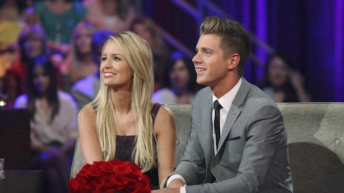 "This July 22, 2012 photo released by ABC shows Emily Maynard, left, and Jef Holm on ""The Bachelorette: After the Final Rose,"" during a live broadcast in the Hollywood section of Los Angeles. Maynard selected Holm over Arie Luyendyk, Jr. on Sunday night's finale of the romance competition series. (AP Photo/ABC, Rick Rowell)"