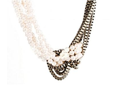 A shadow of Chanel, a lashing of Lanvin informs this pearl-and-chain combination to loop around your neck...