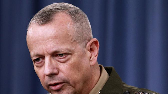 FILE - In this March 26, 2012 file photo, Marine Gen. John Allen speaks during a news conference at the Pentagon. The White House says President Barack Obama wants to give Allen time to consider his next assignment before deciding whether to proceed with his nomination to lead U.S. and NATO forces in Europe. (AP Photo/Haraz N. Ghanbari, File)