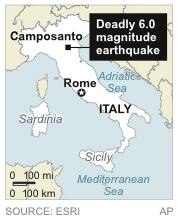 Map locates epicenter of deadly earthquake