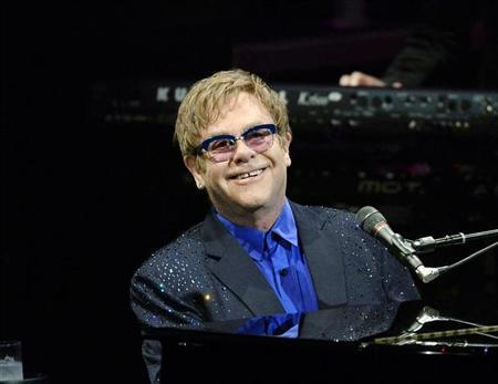"Elton John performs songs off his new album ""The Diving Board"" with USC Thornton School of Music students in Los Angeles,"