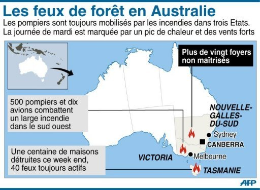 Carte des incendies de forêt en Australie