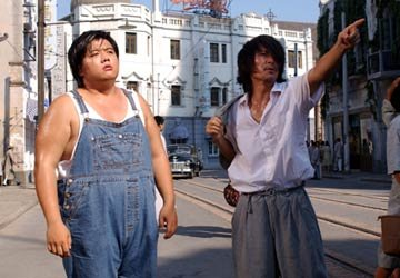 Lam Tze Chung and Stephen Chow filming Sony Pictures Classics' Kung Fu Hustle