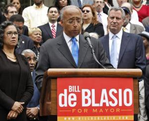 New York City mayoral candidate Thompson concedes Democratic nomination to De Blasio in front of City Hall in New York