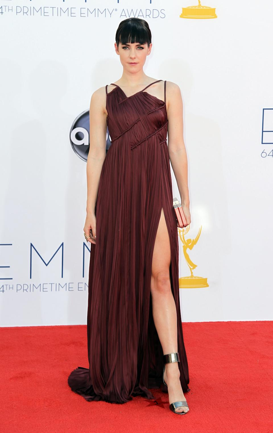 Jena Malone arrives at the 64th Primetime Emmy Awards at the Nokia Theatre on Sunday, Sept. 23, 2012, in Los Angeles. (Photo by Matt Sayles/Invision/AP)