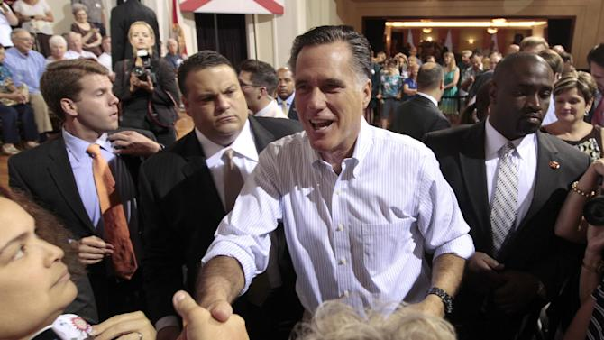 Republican presidential candidate, former Massachusetts Gov. Mitt Romney greets supporters after speaking at a campaign stop, Wednesday, May 16, 2012, in St. Petersburg, Fla. (AP Photo/Mary Altaffer)