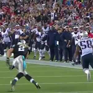 New England Patriots linebacker Steve Beauharnais intercepts Carolina Panthers quarterback Derek Anderson for 61 yards