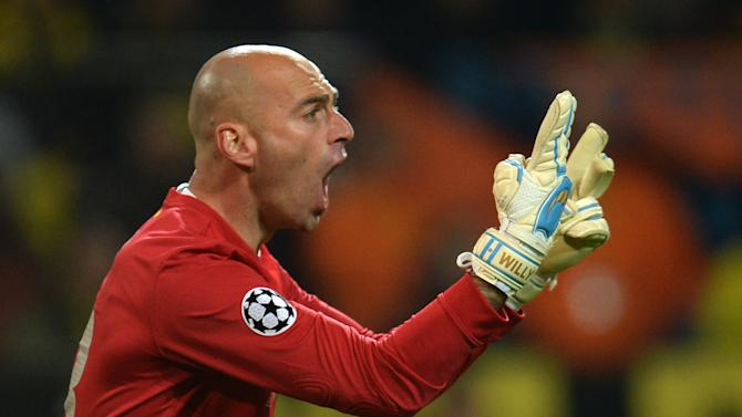 Argentine goalkeeper Willy Caballero, then of Malaga, pictured during his side's Champions League quarter-final second-leg against Borussia Dortmund in Dortmund, western Germany on April 9, 2013