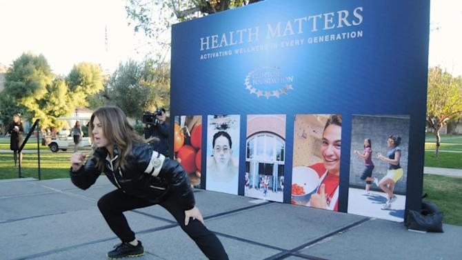"IMAGE DISTRIBUTED FOR HUMANA- Popular health and wellness expert Jillian Michaels leads an early morning workout before participating in the 2013 ""Health Matters: Activating Wellness In Every Generation"" Conference with the William J. Clinton Foundation on January 15, 2013, in La Quinta, Calif. The second-annual conference brings together national thought leaders who demonstrate ways in which individuals, corporate leaders, athletes, and health and wellness experts can contribute to solutions that positively impact health and well-being for people and communities across the country. The event precedes the Humana Challenge PGA TOUR golf tournament, which is being held January 14-20 in La Quinta.(Carlos Puma / AP Images for Humana)"
