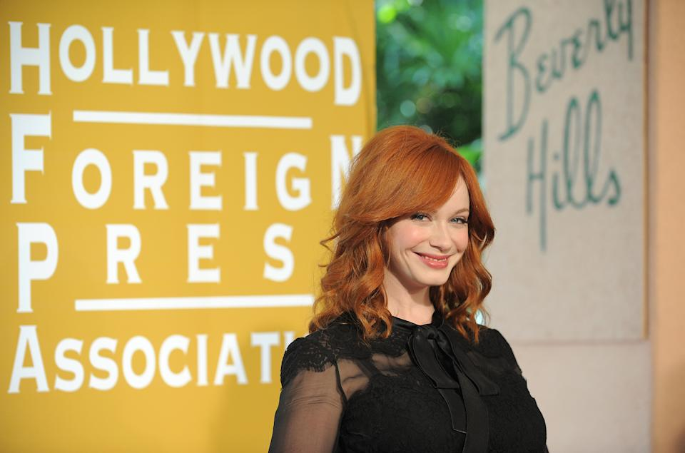 Christina Hendricks attends the Hollywood Foreign Press Association luncheon at the Beverly Hills Hotel on Thursday, Aug. 9, 2012, in Beverly Hills, Calif. (Photo by Jordan Strauss/Invision/AP)