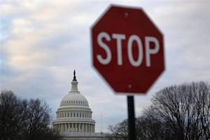 A traffic sign is seen near the U.S. Capitol building in Washington