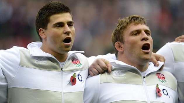 England's Ben and Tom Youngs sing their national anthem before their international rugby union match against Fiji at Twickenham (Reuters)