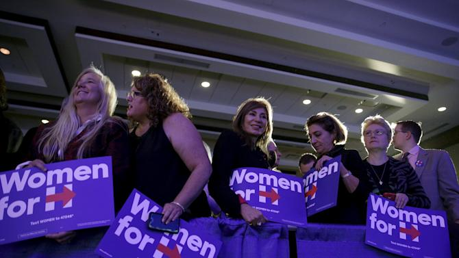 """Supporters of Democratic presidential candidate Hillary Clinton wait for her during the """"Women for Hillary"""" endorsement event and fundraiser in Washington"""