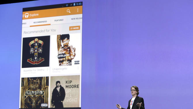 Chris Yerga, engineering director of Android, speaks about Google Play Music at Google I/O 2013 in San Francisco, Wednesday, May 15, 2013. (AP Photo/Jeff Chiu)