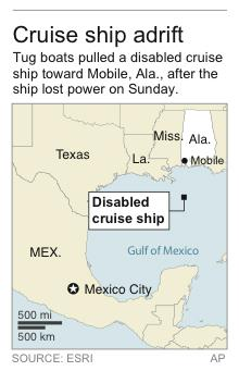 Map locates position of disabled cruise ship