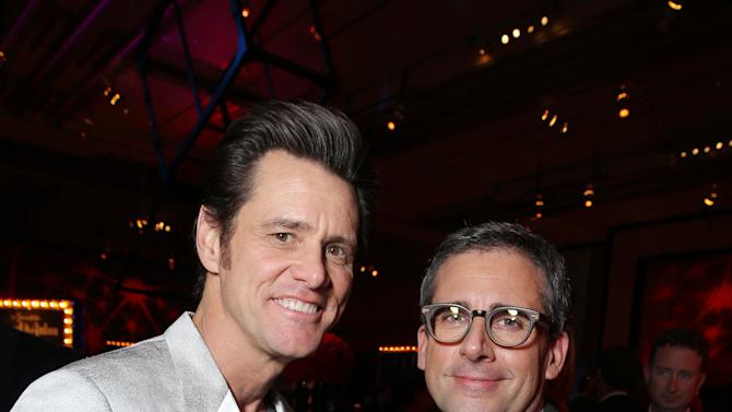 Jim Carrey and Steve Carell at New Line Cinema's World Premiere of 'The Incredible Burt Wonderstone' held at Grauman's Chinese Theatre on Monday, Mar., 11, 2013 in Los Angeles. (Photo by Eric Charbonneau/Invision for New Line Cinema/AP Images)