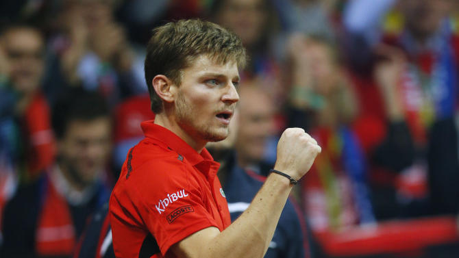 Men's Singles - Belgium's David Goffin celebrates during his match against Great Britain's Kyle Edmund