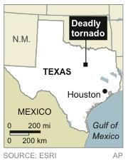 Map locates area hit by tornado in Texas