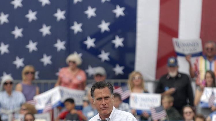 Republican presidential candidate, former Massachusetts Gov. Mitt Romney speaks at Pueblo Weisbrod Aircraft Museum in Pueblo, Colo., Monday, Sept. 24, 2012. (AP Photo/Bryan Oller)