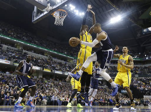 Thunder wins 97-75 at Indiana to tie for West lead
