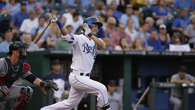 Kansas City Royals' Norichika Aoki bats during the second inning of a baseball game against the Cleveland Indians Friday, July 25, 2014, in Kansas City, Mo. (AP Photo/Charlie Riedel)