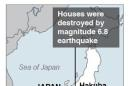 Map locates where a 6.8 magnitude earthquake struck central Japan.; 1c x 3 inches; 46.5 mm x 76 mm;