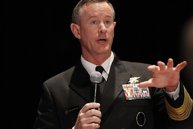 FILE - Navy Adm. Bill McRaven, commander of the U.S. Special Operations Command, addresses the National Defense Industrial Association (NDIA), in Washington, in this Feb. 7, 2012 file photo. Special o
