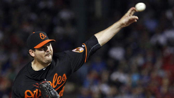 Baltimore Orioles starting pitcher Joe Saunders throws to a Texas Rangers batter during the third inning of an American League wild-card playoff baseball game Friday, Oct. 5, 2012, in Arlington, Texas. (AP Photo/LM Otero)