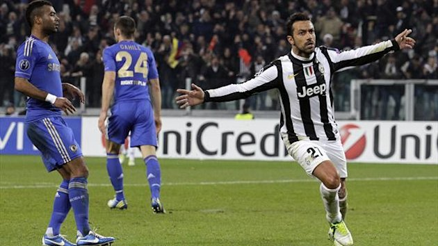 Juventus' Fabio Quagliarella (R) celebrates after scoring against Chelsea (Reuters)
