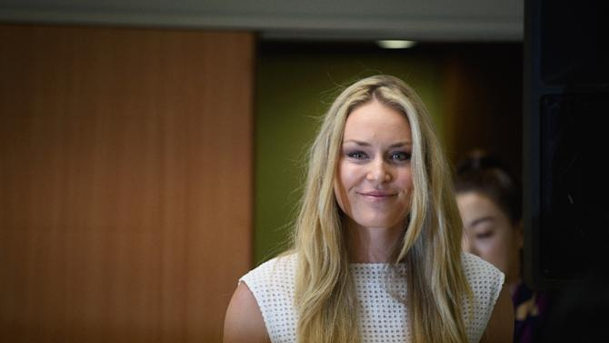 Olympic alpine skier Lindsey Vonn arrives at a press conference in Seoul on May 6, 2015