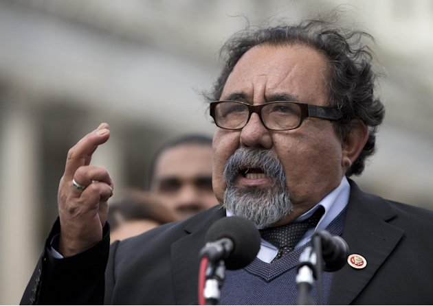 FILE - In this Feb. 27, 2013, file photo, Rep. Raul Grijalva, D-Ariz. gestures as he speaks during a news conference on Capitol Hill in Washington, Wednesday, Feb. 27, 2013. House Republicans pushed a