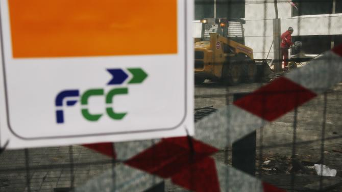 The logo of Spanish building and services company FCC is seen at a construction site in Madrid