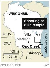 Map locates Oak Creek, Wis., site of shooting at Sikh temple