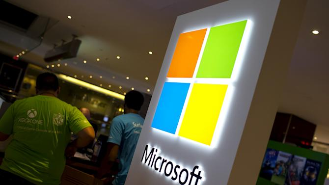 The Microsoft logo is seen at the Microsoft store in New York ahead of the launch of Windows 10