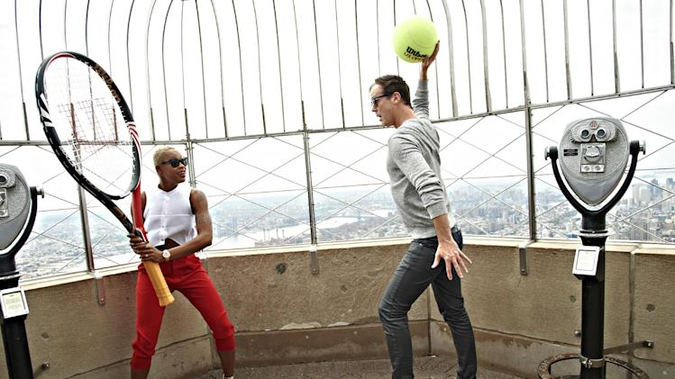 This handout provided by the United States Tennis Association shows Noelle Scaggs, left, and Fitz, of Fitz and the Tantrums, posed on the observation deck of the Empire State Building in New York. Fitz and The Tantrums and 3 Winans Brothers will be the headlining acts for the opening ceremony at the U.S. Open tennis tournament, scheduled for Aug. 25, 2014. (AP Photo/USTA, Jennifer Pottheiser)