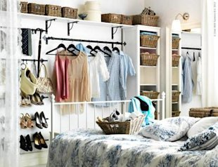 Double your room as a walk-in closet.