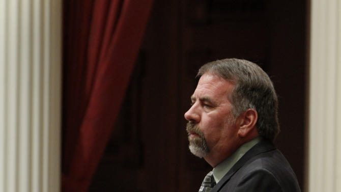 State Sen. Doug LaMalfa, R-Willows, urged lawmakers to reject a bill authorizing about $4.5 billion in funding for a high-speed rail system at the Capitol in Sacramento, Calif., Friday, July 6, 2012.   The bill, which would allow the state to begin selling $2.6 billion in voter -approved bonds, was approved by a 21-16 vote and now goes to Gov. Jerry Brown who has supports the measure.(AP Photo/Rich Pedroncelli)