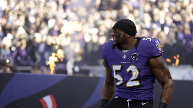 Baltimore Ravens inside linebacker Ray Lewis (52) celebrates when he is introduced before an NFL wild card playoff football game against the Indianapolis Colts Sunday, Jan. 6, 2013, in Baltimore. (AP Photo/Patrick Semansky)