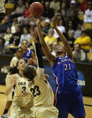 No. 12 seed Kansas stuns Colorado 67-52