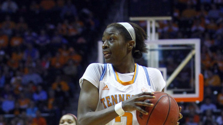 Tennessee's Jasmine Jones (2) drives to the basket in the second half of an NCAA college basketball game against Alabama, Sunday, Jan. 20, 2013, in Knoxville, Tenn. Tennessee won 96-69. (AP Photo/Wade Payne)