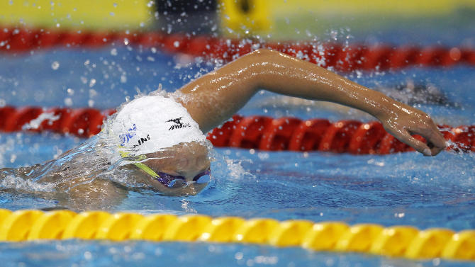 FILE - In this May 26, 2012 file photo, Italy's Federica Pellegrini swims to win the Women's 200 meter Freestyle final at the European Swimming Championships in Debrecen, Hungary. The inaugural European Games in Baku in 2015 have been approved. The European Olympic Committees voted Saturday, Dec. 8, 2012 to create the multi-sport event in June 2015. The capital of Azerbaijan was the sole candidate. The secret ballot passed with 38 in favor, eight against and three abstaining. (AP Photo/ Michael Sohn, File)