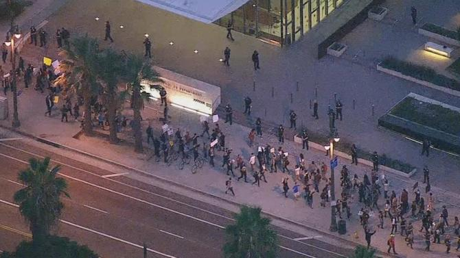 Ferguson protesters gather peacefully in downtown LA