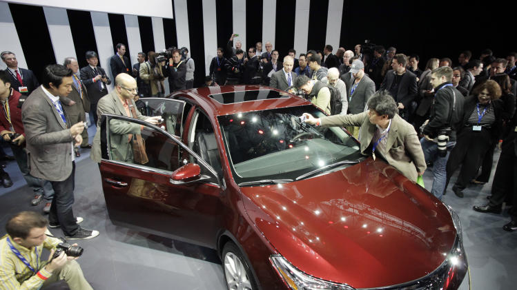 The 2013 Toyota Avalon is shown, Thursday, April 5, 2012 at the New York International Auto Show. (AP Photo/Mark Lennihan)