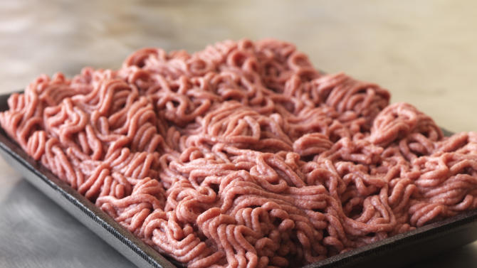 """This September 2012 photo provided by Dakota Dunes, S.D.-based meat processor Beef Products Inc., shows a sample of their lean, finely-textured beef. BPI filed a defamation lawsuit Thursday, Sept, 13, 2012 against ABC News for what it alleges was misleading reporting about a product that critics have dubbed """"pink slime."""" (AP Photo/Beef Products, Inc.)"""